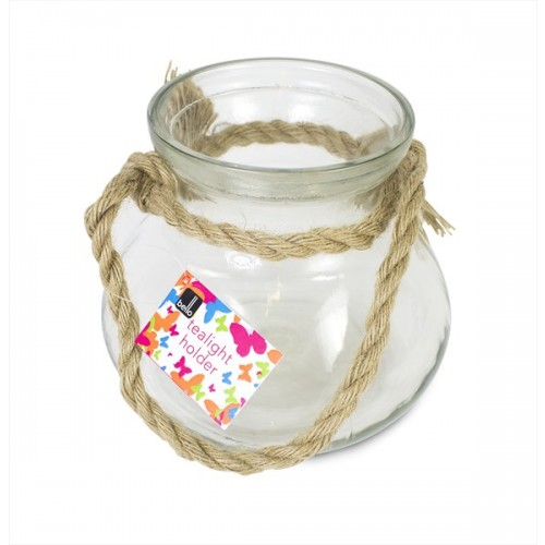 TEA LIGHT CANDLE HOLDER WITH ROPE HANDLE 18X15CM