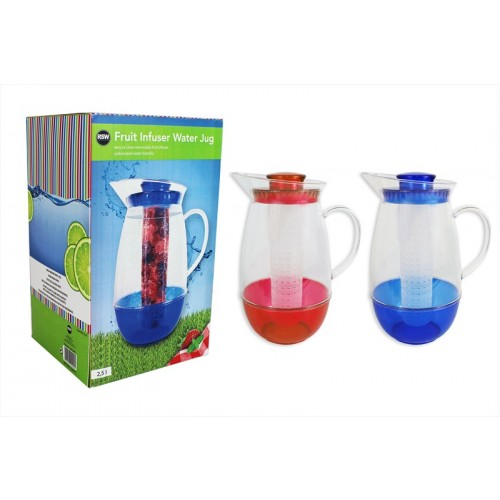 FRUIT INFUSER JUG 2 COLOURS RED AND BLUE 2.5L