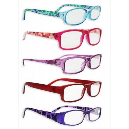 COLOURED FRAMES LADIES READING GLASSES 5 STYLES