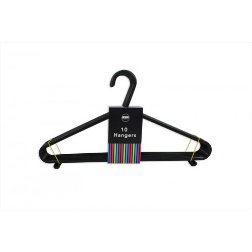 PACK OF 10 BLACK CLOTHES HANGERS