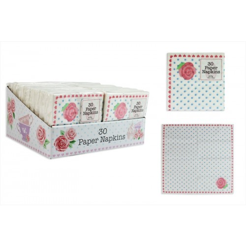 PACK OF 30 AFTERNOON TEA STYLE 2 PLY PAPER NAPKINS