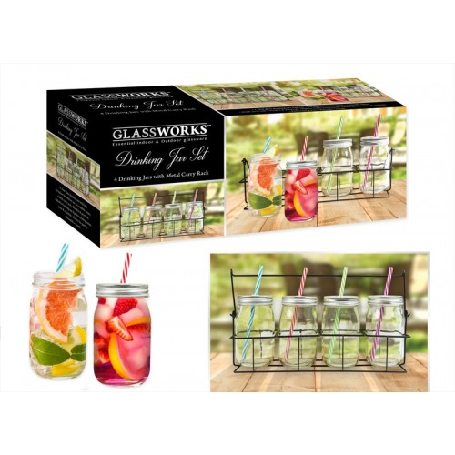Glassworks DRINKS JARS WITH STRAW AND RACK SET OF 4 400ML