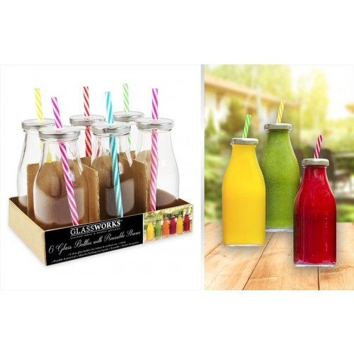 GLASS DRINKING BOTTLES WITH LIDS SET 6 250ml
