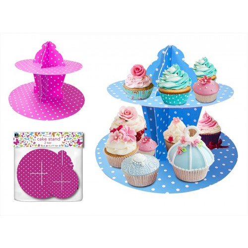 2 TIER CAKE STAND 2 ASSORTED COLOURS