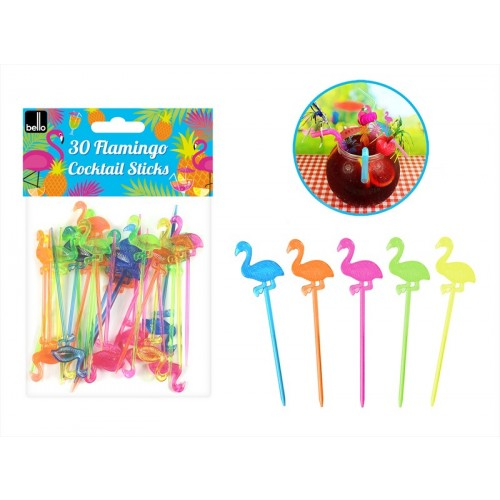 Bello PACK OF 30 FLAMINGO COCKTAIL STICKS 6 COLOURS