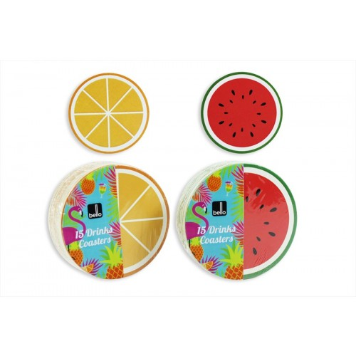PACK OF 15 CARD FRUIT COASTERS 2 ASSORTED DESIGNS
