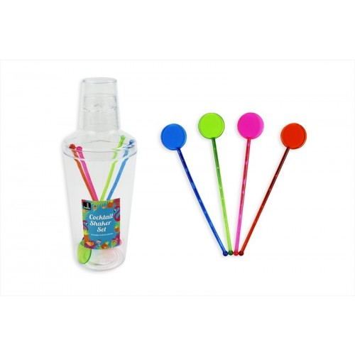 COCKTAIL SHAKER SET WITH 4 STIRRERS 600ML