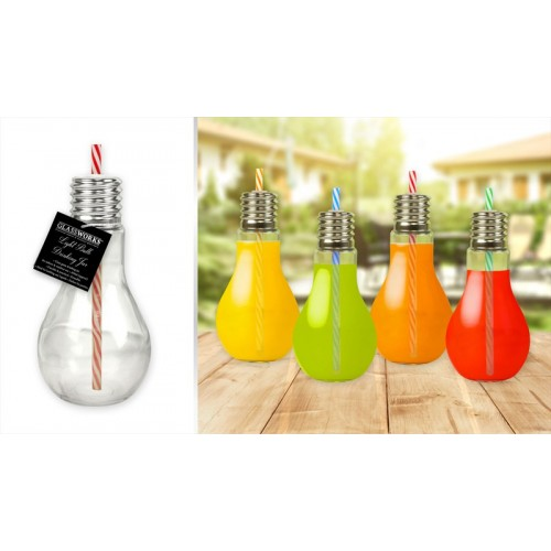 GLASS LIGHT BULB DRINKING JAR WITH STRAW 400ML