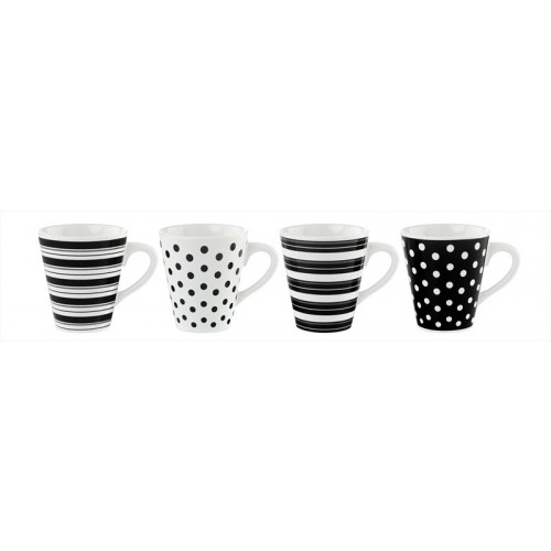 MUGS 11oz SPOTS AND STRIPES (4 Assorted)