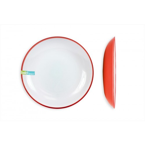 Bello 2 TONE CORAL/WHITE LARGE DINNER PLATE
