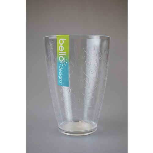 CLEAR DRINKS TUMBLER ETCHED DESIGN 11.5CM