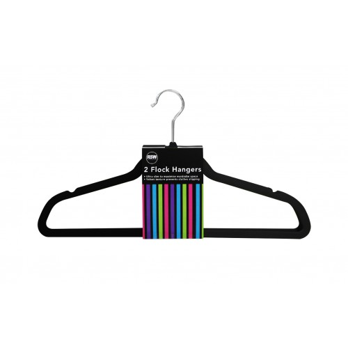 BLACK FLOCK HANGERS 2 PACK
