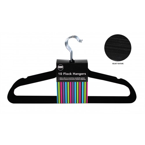 RSW BLACK ADULT FLOCK HANGERS 10 PACK