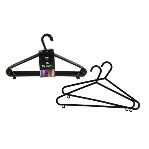 PACK OF 20 BLACK PLASTIC CLOTHES HANGERS