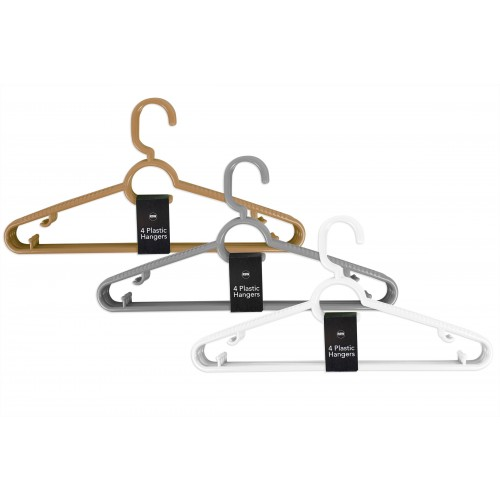 COAT HANGERS PK4 3 ASSORTED COLOURS
