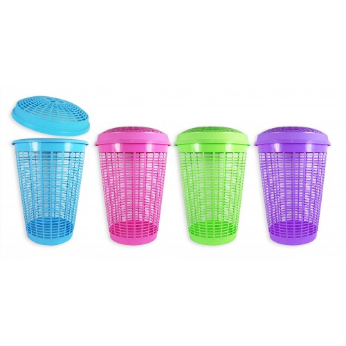 RSW LAUNDRY BASKET WITH LID 4 ASSORTED COLOURS