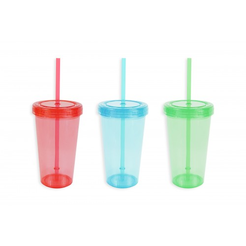 BEAKER WITH LID AND STRAW 450ML