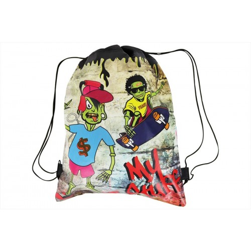 RSW KIDS SKATER ZOMBIE DRAW STRING BAG 27.5X36.5CM