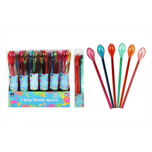 Bello LONG HANDLE SPOON PK6  4 ASSTORTED COLOURS