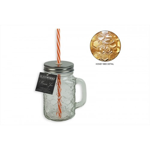Glassworks MASON JAR WITH STRAW AND LID BEEHIVE DESIGN