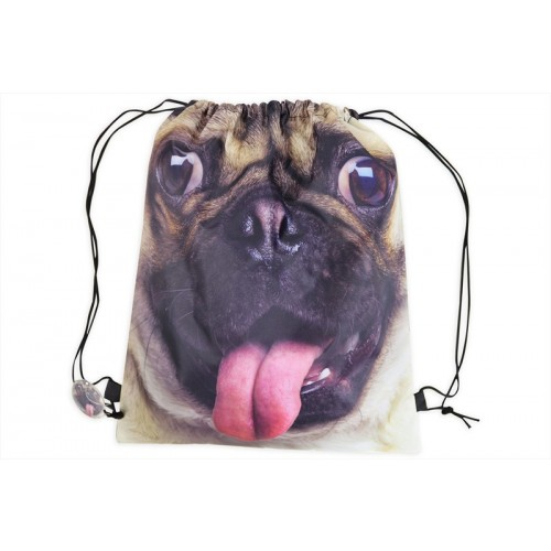 RSW DRAW STRING BAG 40X35CM DOG PUG PRINT