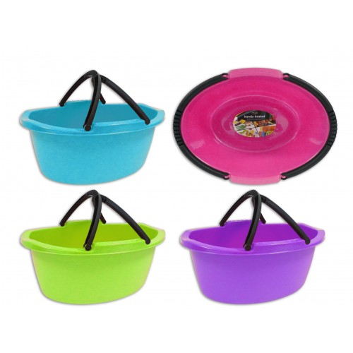 Brights Kitchenware OVAL HANDY BASKET WITH HANDLE 4 ASSORTED COLOURS