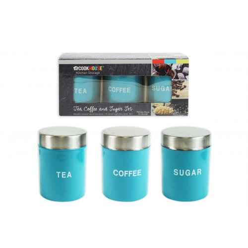 CANISTER SET 3 BLUE LACQUER FINISH 9CM