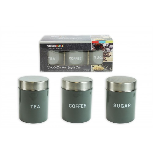 CANISTER SET 3 SILVER LACQUER FINISH 9CM