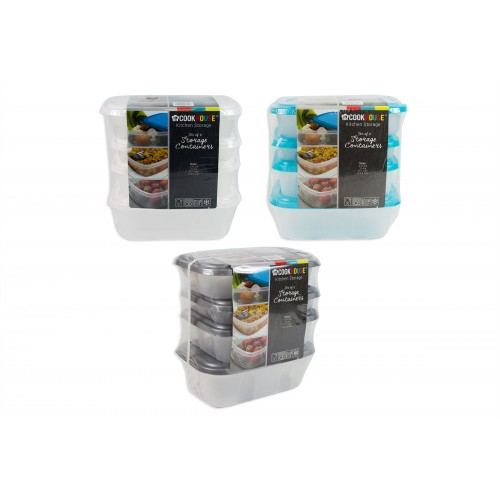 SET OF 6 FOOD STORAGE BOXES WITH COLOURED LIDS
