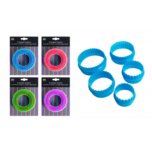 SET OF 5 ROUND REVERSIBLE COOKIE CUTTERS 4 COLOURS