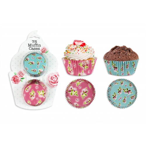 AFTERNOON TEA STYLE PAPER MUFFIN CASES 75 PACK