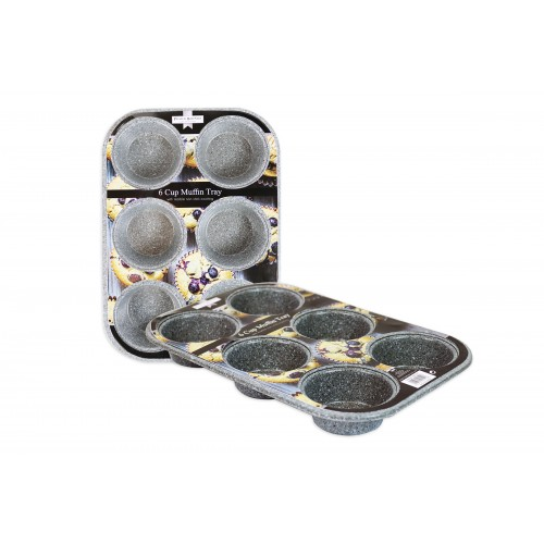 NON STICK 6 CUP MUFFIN BAKING TRAY MARBLE COATING