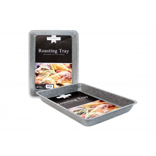 NON STICK OBLONG ROASTING TRAY MARBLE COATING