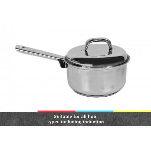 INDUCTION SUITABLE SAUCE PAN 18CM W/LID