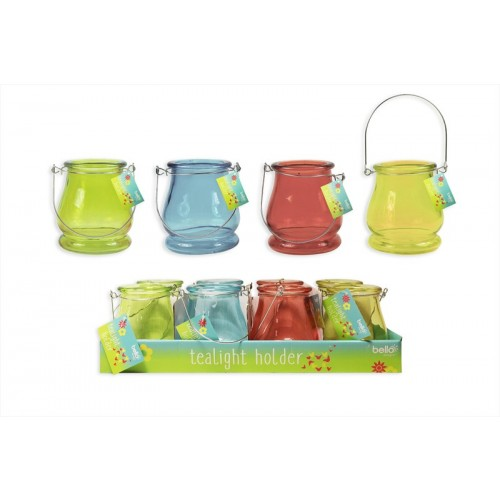 Bello TEA LIGHT HOLDER 4 COLOURS WITH METAL HANDLE