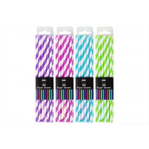 RSW PAPER DRINKING STRAWS 30 PACK 4 ASSORTED COLOURS