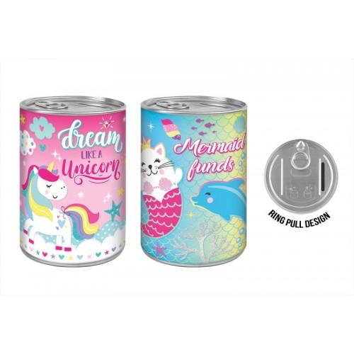 Unicorn TIN MONEY BOX FUN 2 ASSORTED DESIGNS