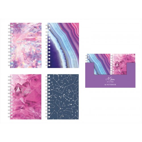 Fashion Stationery A6 LINED NOTE BOOK FOUR JEWEL DESIGNS