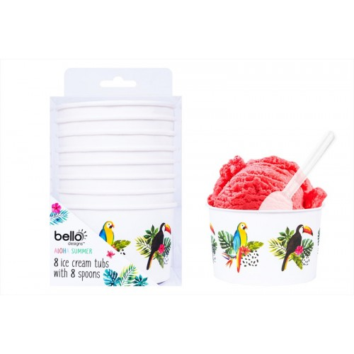 8 ICE CREAM TUBS WITH SPOONS LEAF DESIGN