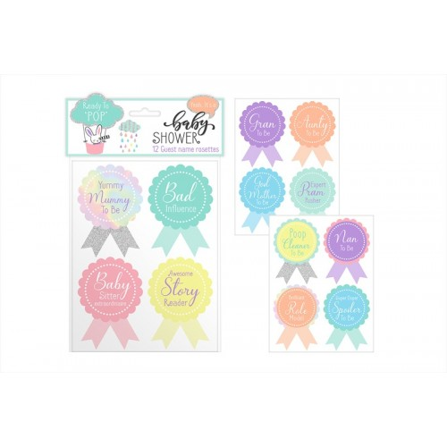 First Steps BABY SHOWER GUEST NAME ROSETTES 12 PACK