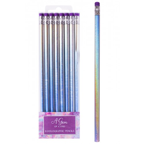 Fashion Stationery 8 SILVER METALLIC PENCILS WITH ERASER