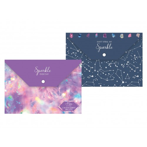 Fashion Stationery PACK OF TWO FASHION DOCUMENT WALLETS TWO ASSORTED