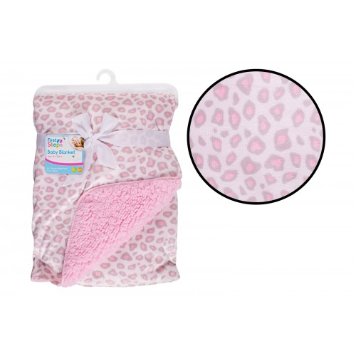 First Steps MINK SHERPA BLANKET PINK ANIMAL PRINT
