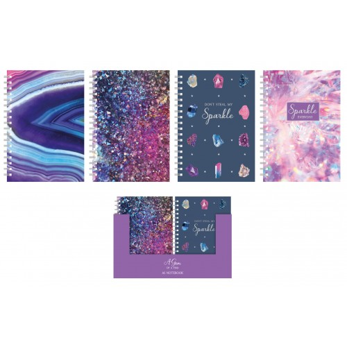 Fashion Stationery A5 LINED NOTEBOOK FOUR JEWEL DESIGNS