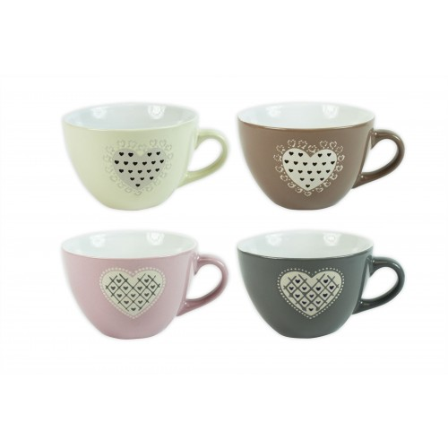 Mad About Mugs WIDE COUPE EMBOSSED HEART DESIGN MUG 4ASST COLS