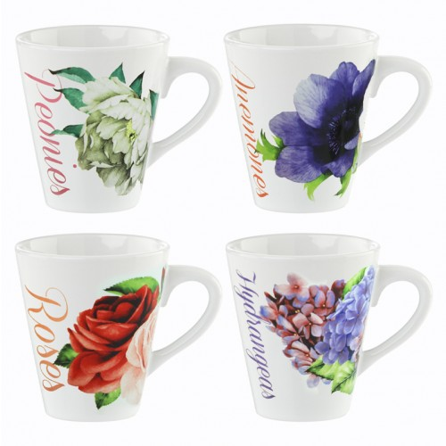 Mad About Mugs 11oz FLORAL PATTERN DESIGNED MUGS 4 ASSORTED