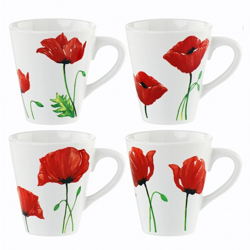 Mad About Mugs PORCELAIN POPPY MUGS 4 DESIGNS