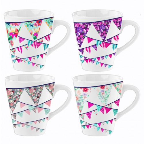 Mad About Mugs BUNTING PORCELAIN MUGS MULTICOLOUR 4 DESIGNS