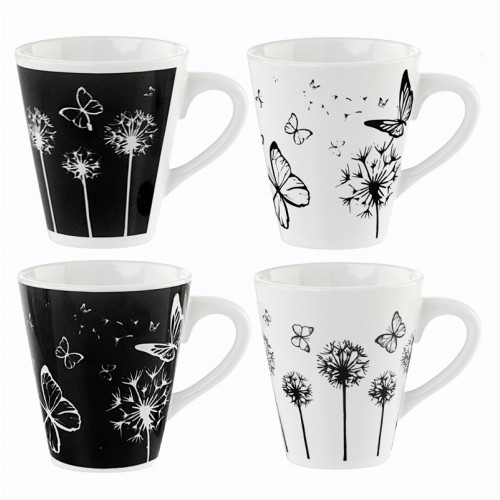 Mad About Mugs BLACK/WHITE BUTTERFLY DESIGN MUGS 4 STYLES