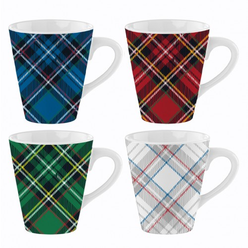 Mad About Mugs 10oz MUGS TARTAN DESIGN FOUR ASSORTED